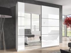 Whitney - Armoire 2 portes coulissantes 220 cm blanc laqué