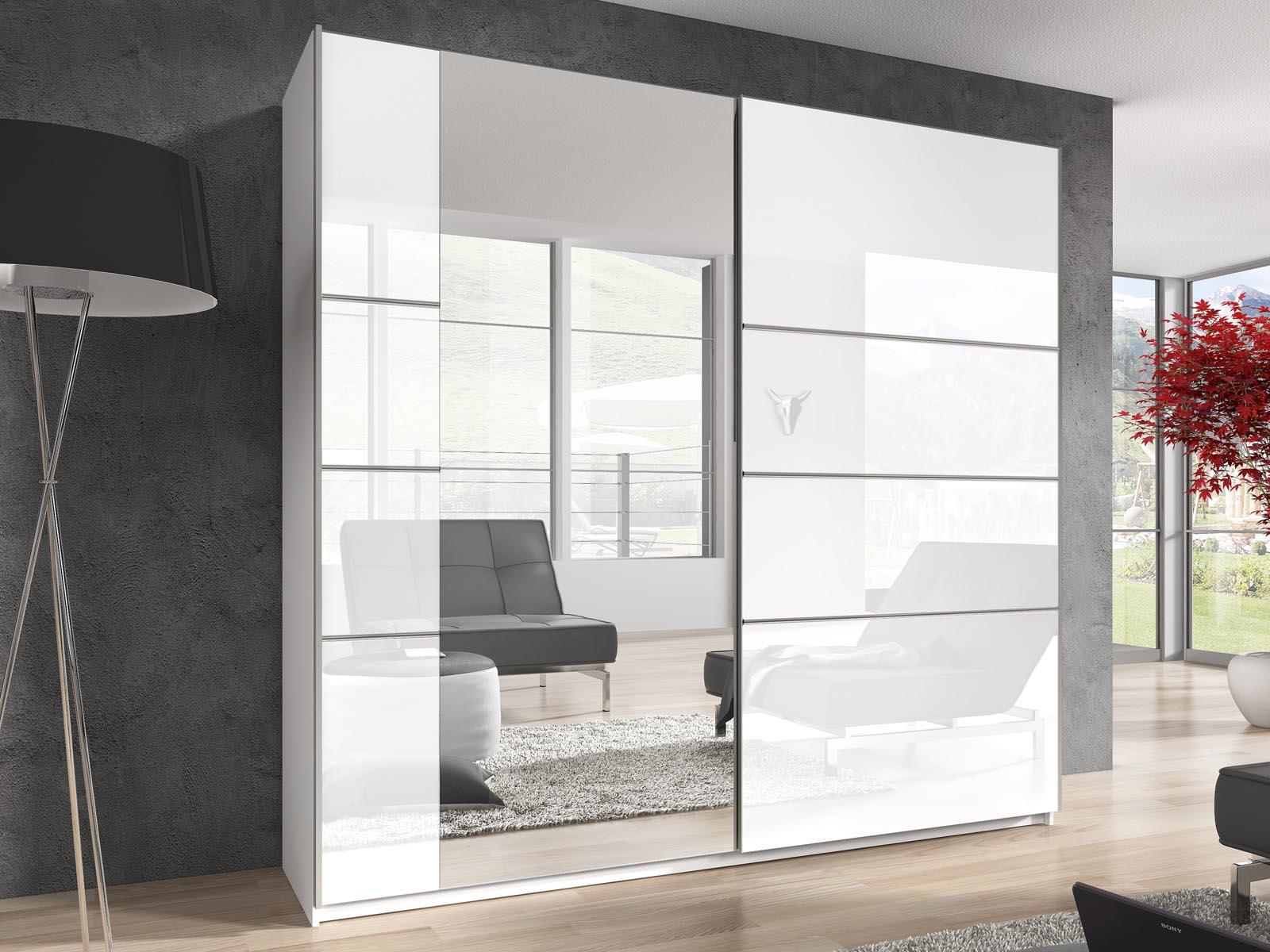 Whitney – Armoire 2 portes coulissantes 220 cm blanc laqué