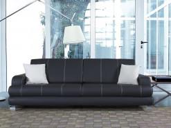 ONNI - Canapé 3 places convertible en éco-cuir noir