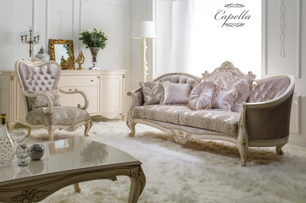 CAPELLA - ENSEMBLE CANAPE 3+1+1 BAROQUE EN TISSUS ECRU