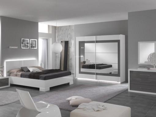 Chambre A Coucher Complete Coloris Blanc : Angelo chambre à coucher complète blanc amp gris laqu� modiva