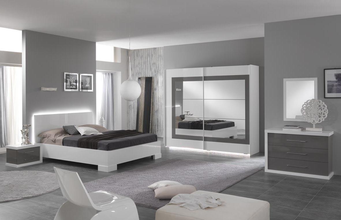 Angelo – Chambre à coucher complète blanc & gris laqué