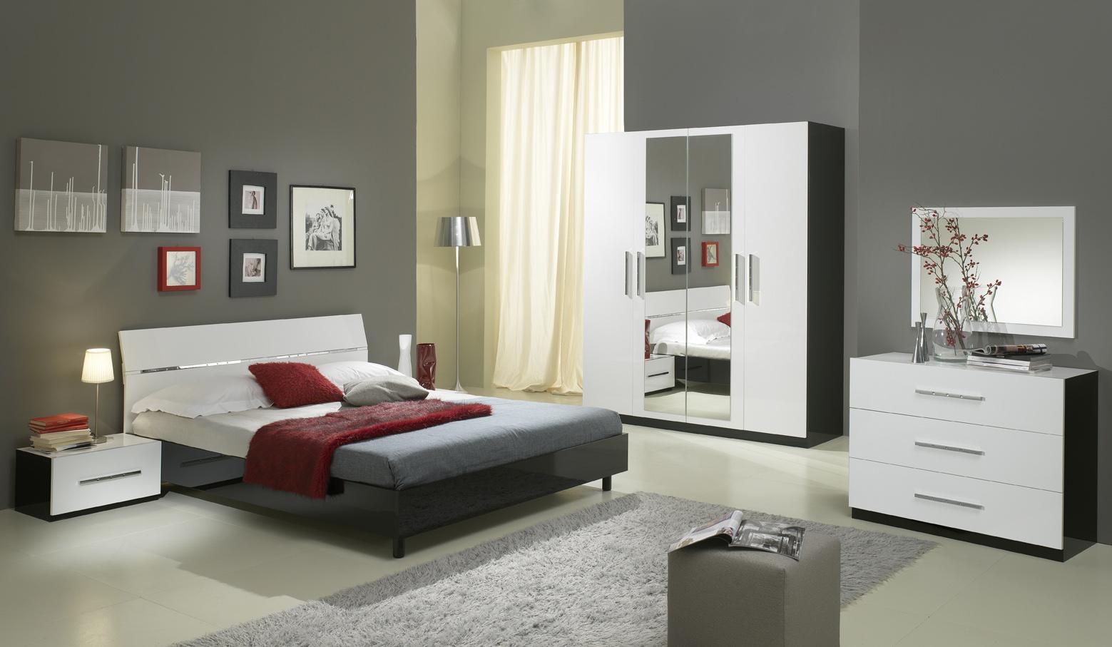 Claudia – chambre a coucher complete noir & blanc – modiva
