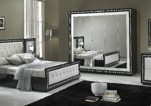 Chambre A Coucher Complete Coloris Blanc : Christina chambre à coucher complète noir amp blanc modiva