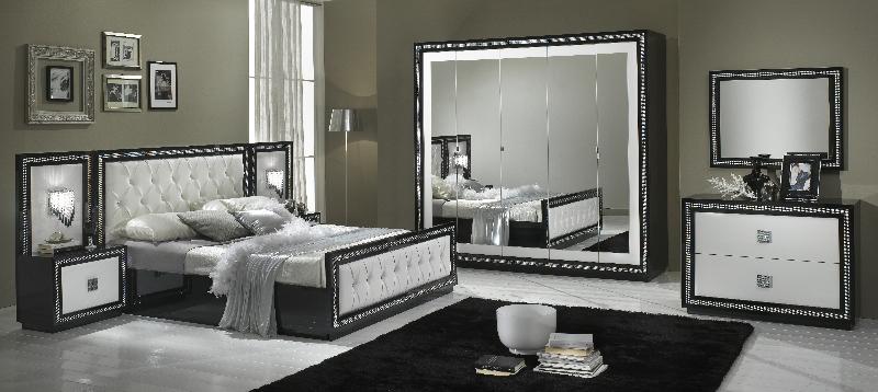 Christina – Chambre à coucher complète noir & blanc | MODIVA