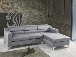 Laura - Salon en angle ultra design en tissu gris clair