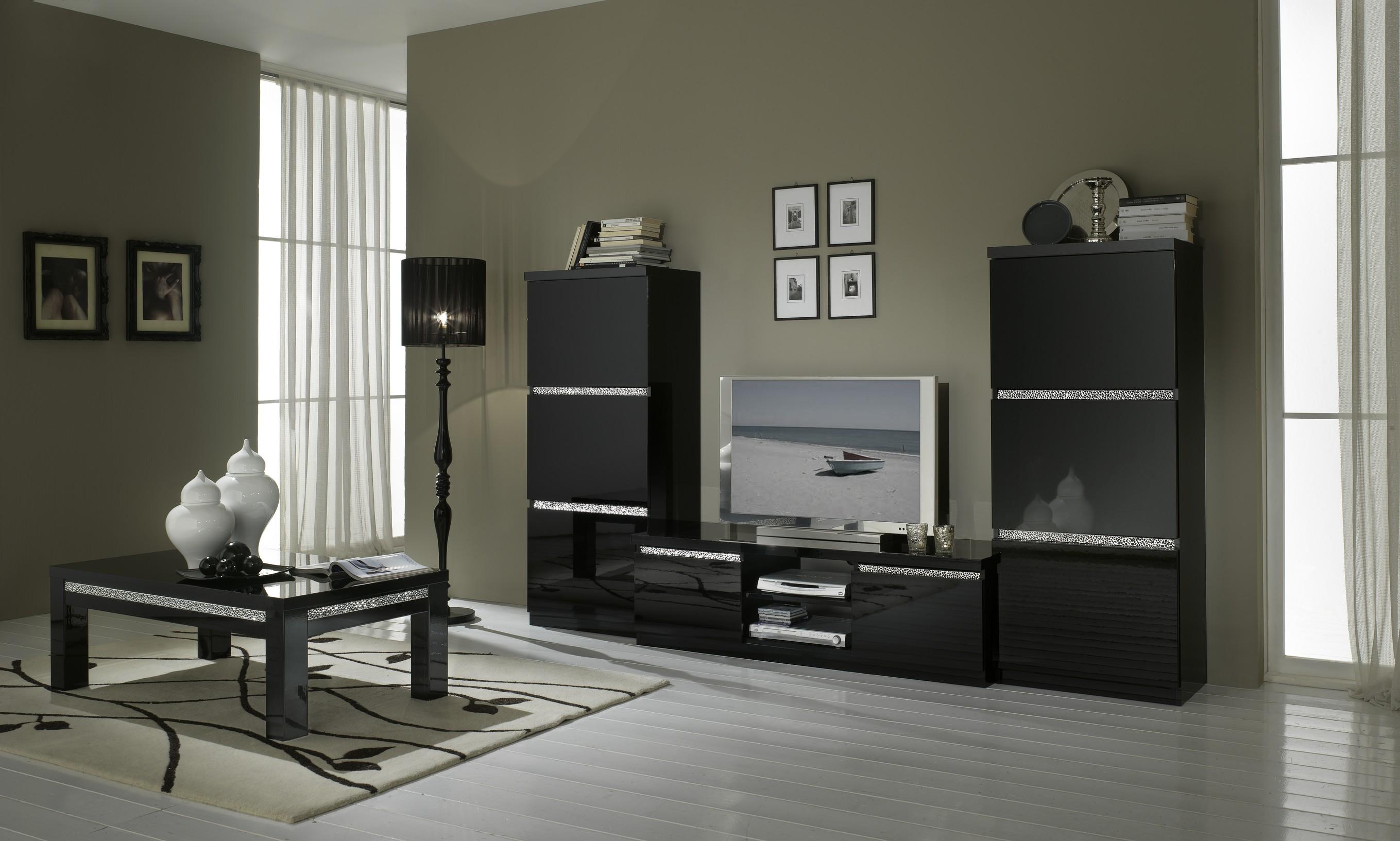 Amor Cromo Meuble Tv Coloris Noir Laqu Modiva # Meuble De Tv Noir Laque