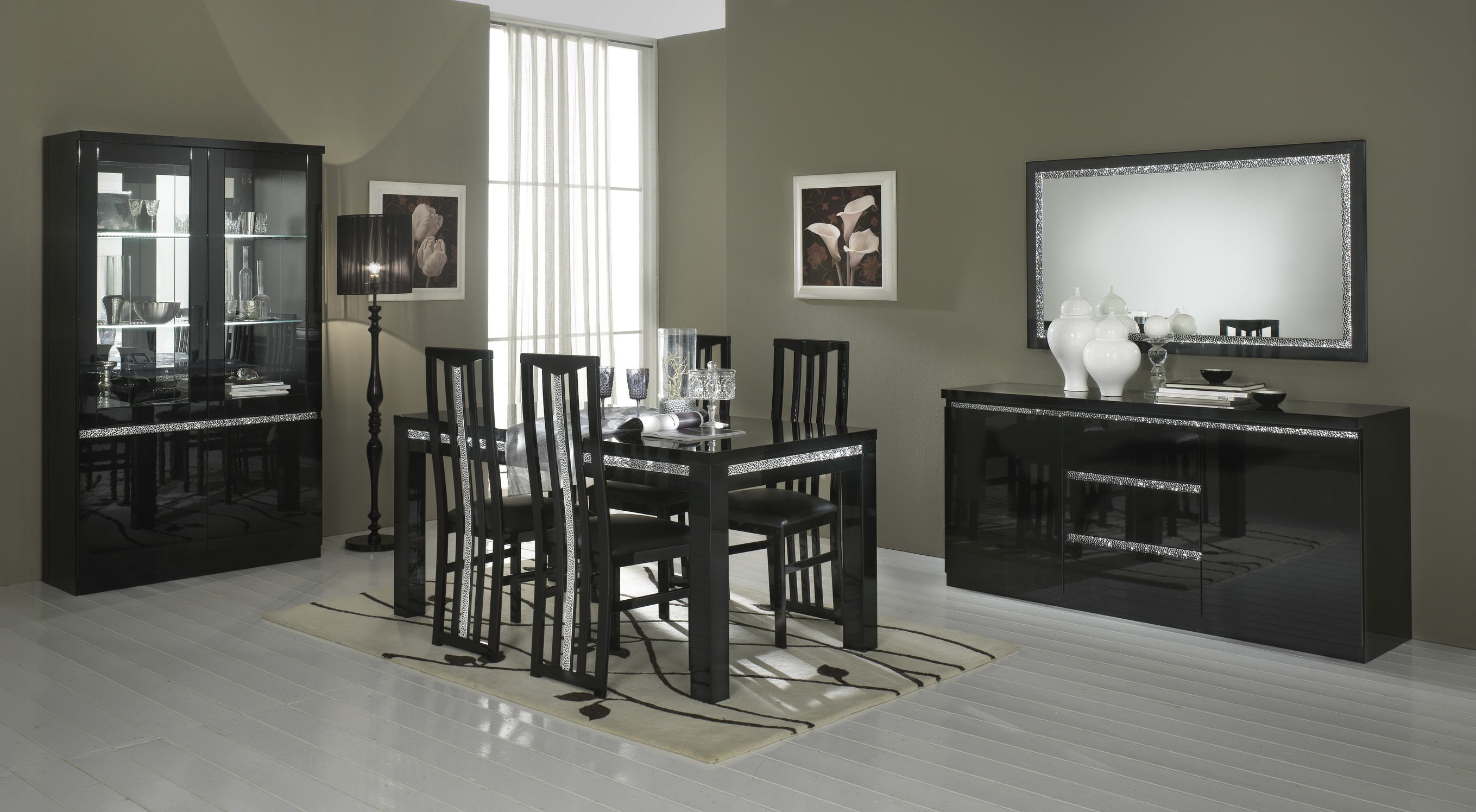 Amor Cromo - Miroir 180 cm salle à manger coloris noir brillant | MODIVA