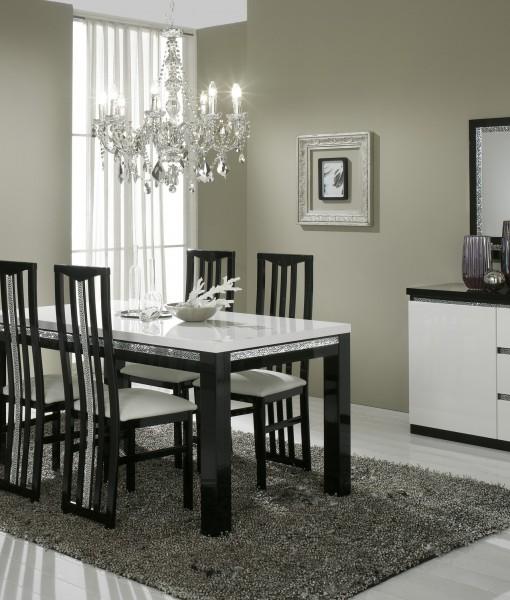 Amor Cromo - Salle à manger complète coloris blanc et noir laqué ...
