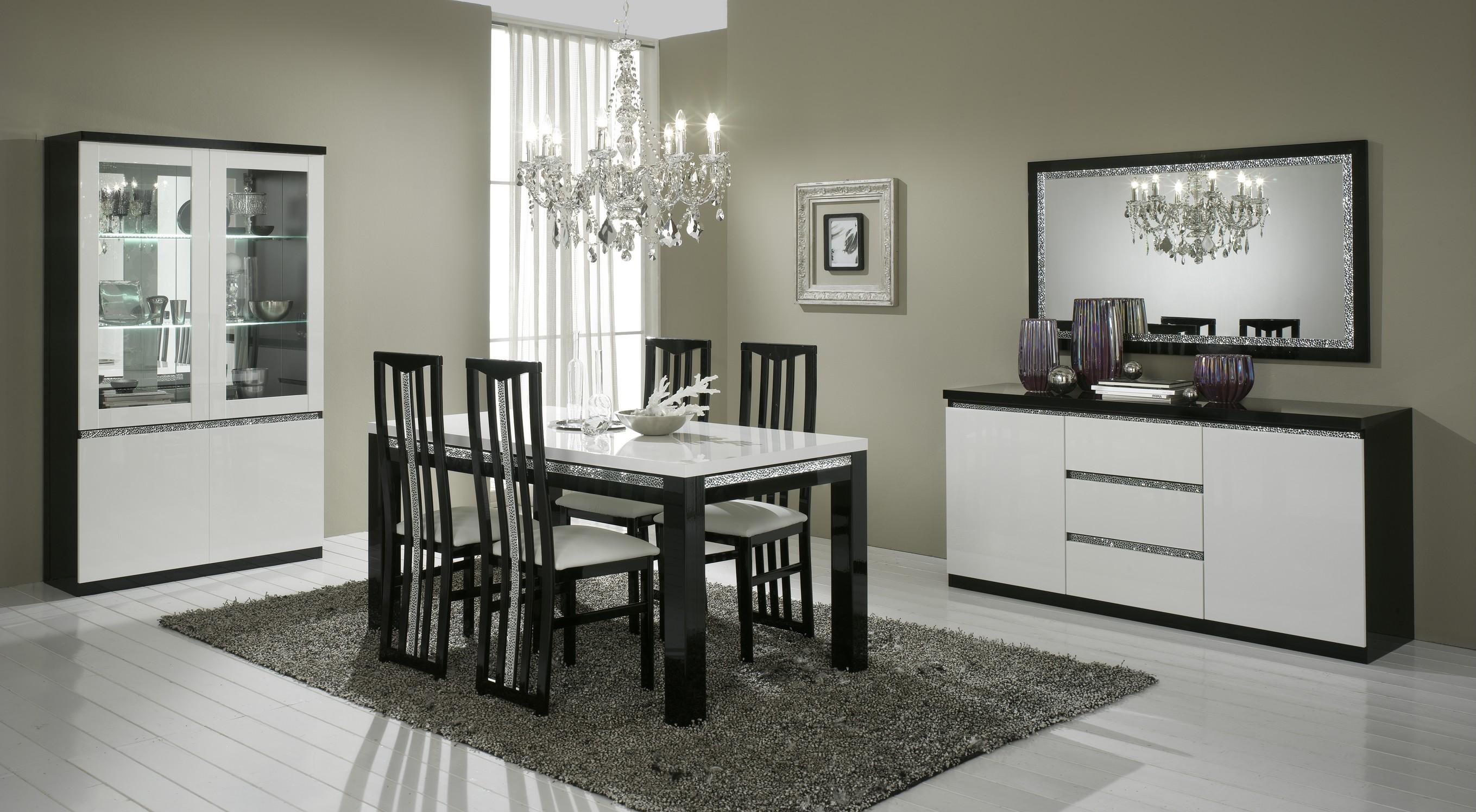 Amor cromo   salle à manger complète coloris blanc et noir laqué ...