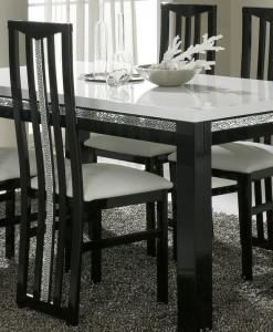 AMOR CROMO - TABLE SALLE A MANGER BLANC ET NOIR LAQUE