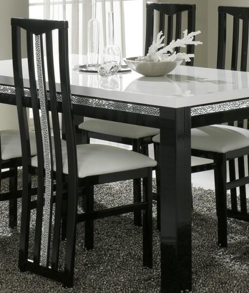Amor Cromo - Table salle à manger 190 cm coloris blanc et noir laqué ...