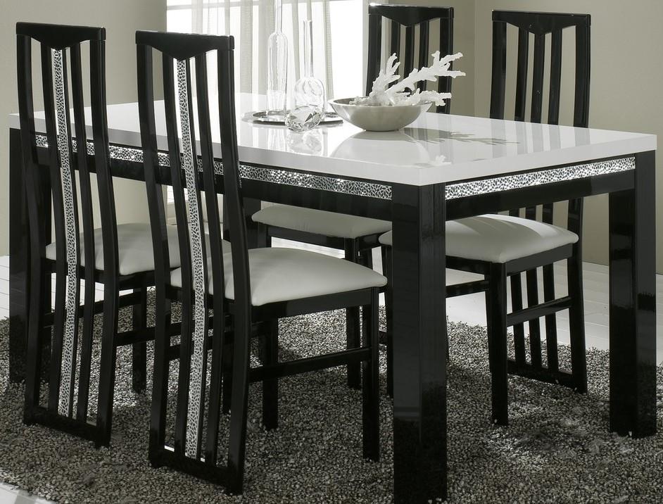 Amor Cromo - Table salle à manger 160 cm coloris blanc et noir laqué ...