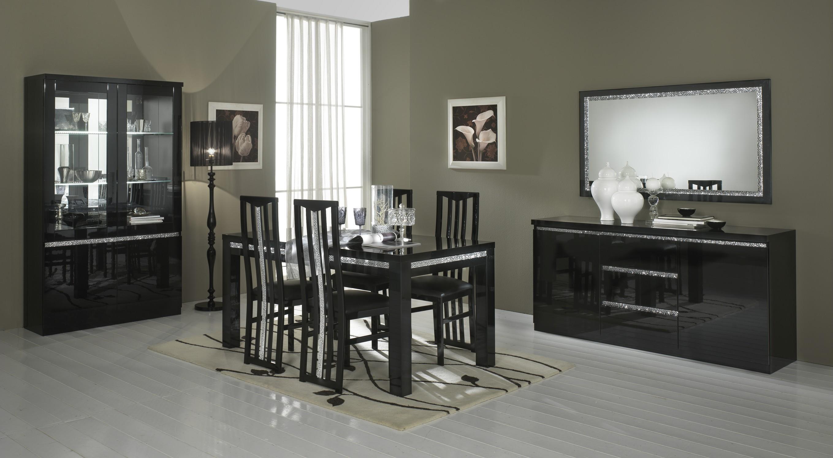 Amor Cromo - Table salle à manger 160 cm coloris noir laqué | MODIVA