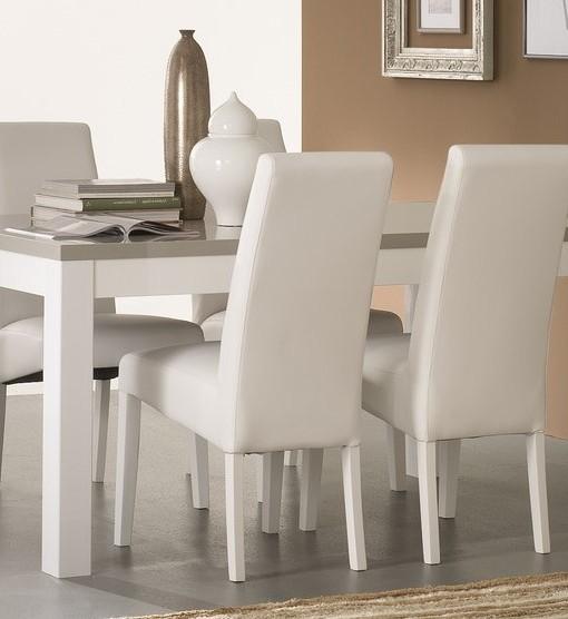 AMOR – TABLE SALLE A MANGER BLANC & GRIS LAQUE