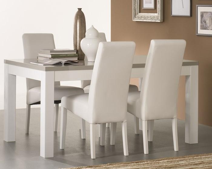 Amor – Table salle à manger 160 cm coloris blanc & gris laqué
