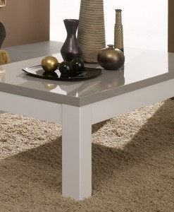 AMOR - TABLE BASSE BLANC & GRIS LAQUE