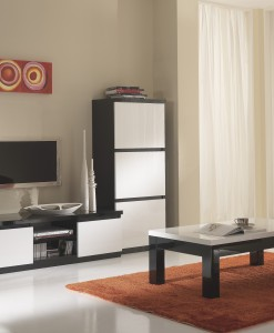 AMOR - TABLE BASSE NOIR & BLANC LAQUE