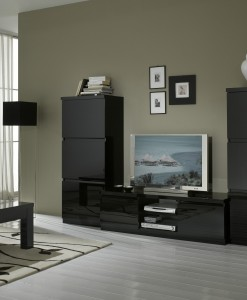 AMOR - TABLE BASSE NOIR LAQUE