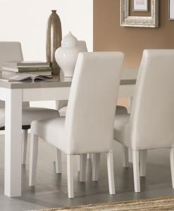 AMOR - TABLE SALLE A MANGER BLANC & GRIS LAQUE
