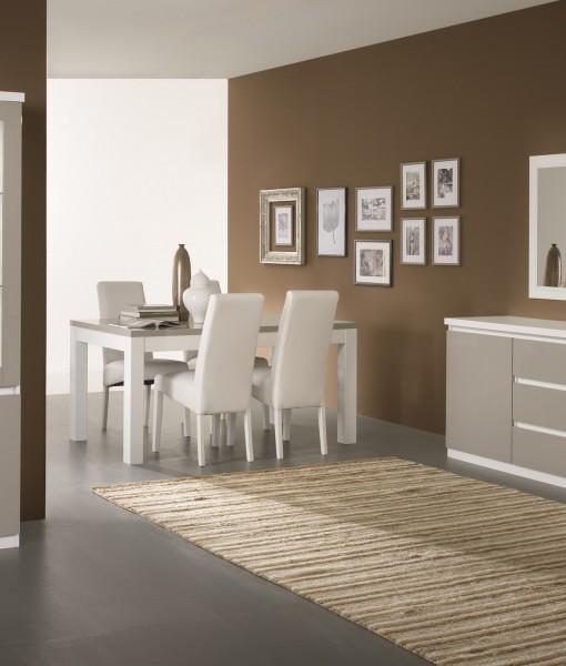 Amor – Salle à manger complète coloris blanc & gris laqué