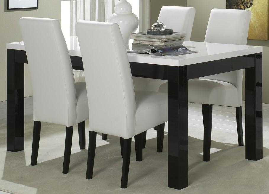Amor Table Salle A Manger 190 Cm Coloris Noir Blanc Laque
