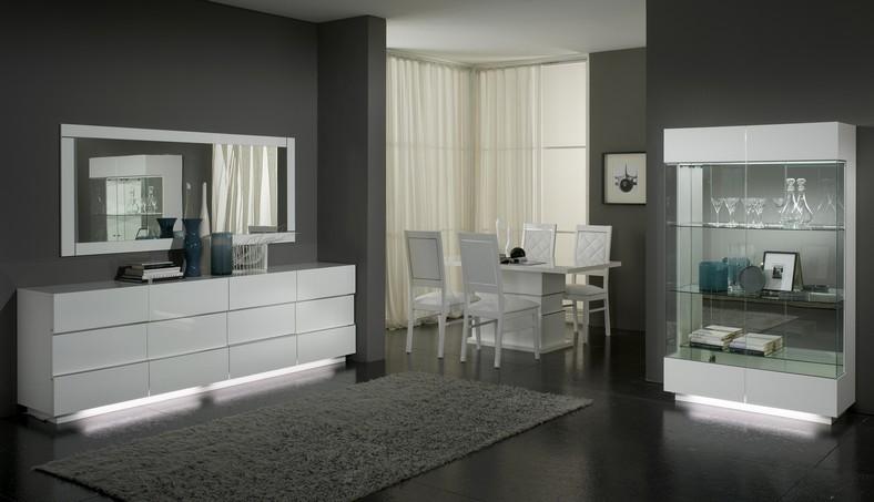 Delux - Miroir salle à manger design coloris blanc laqué   MODIVA