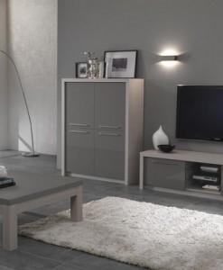 FANNY - MEUBLE TV COLORIS BOIS & GRIS LAQUE