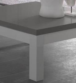 FANNY - TABLE BASSE COLORIS BLANC & GRIS LAQUE