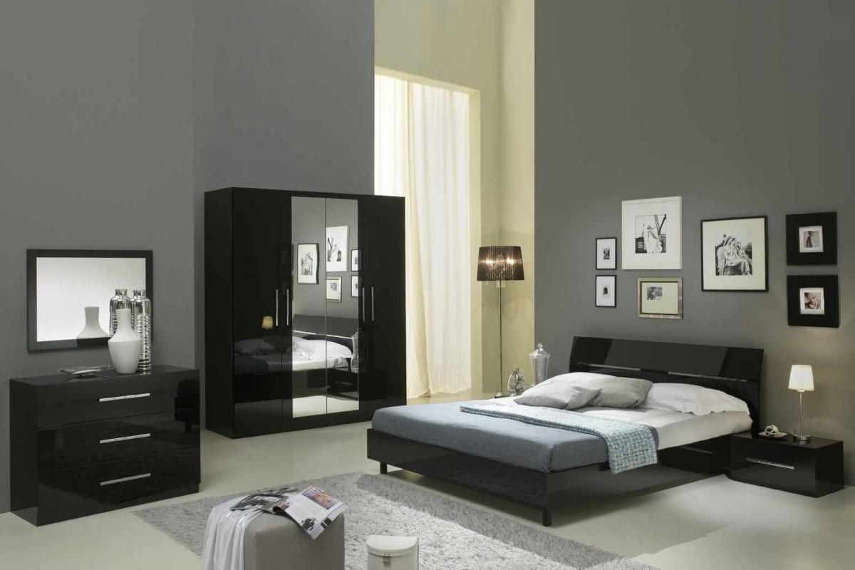 Glorino - Armoire 180 cm coloris noir laqué | MODIVA