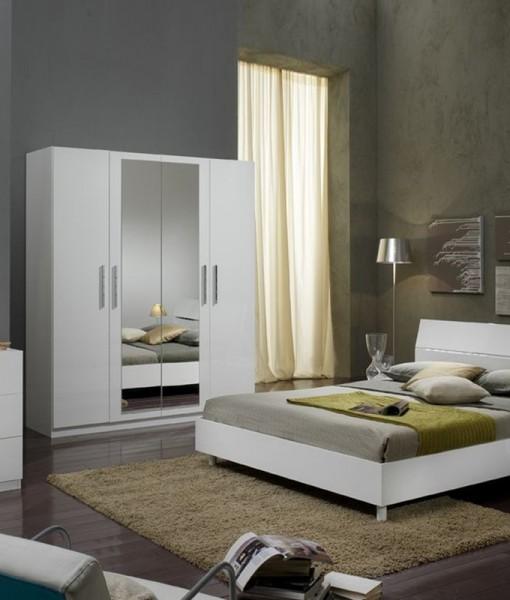 Glorino - Chambre à coucher complète blanc laqué | MODIVA