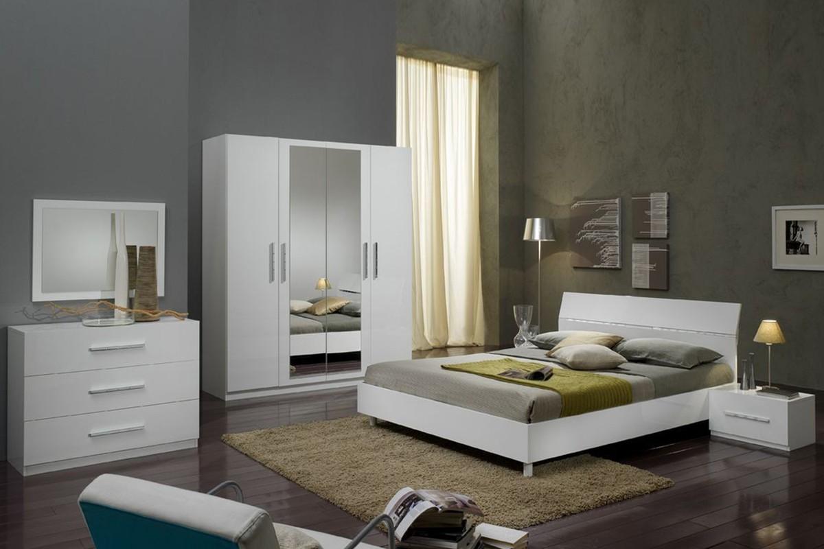 Glorino – Chambre à coucher complète coloris blanc laqué – MODIVA