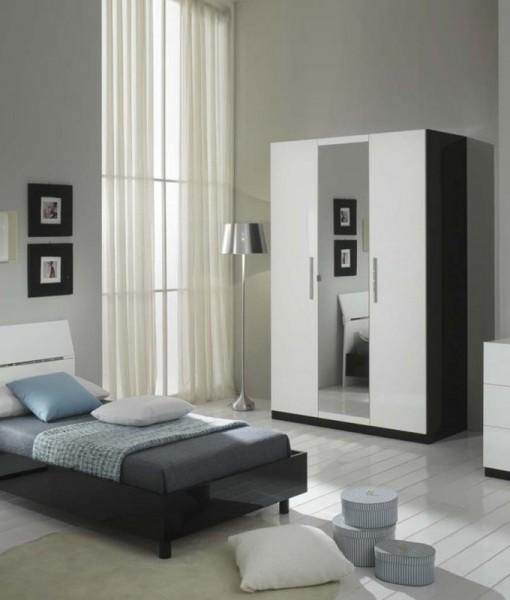 Glorino - Chambre jeune complète noir et blanc laqué   MODIVA