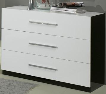 Glorino - Chambre à coucher complète noir et blanc laqué | MODIVA