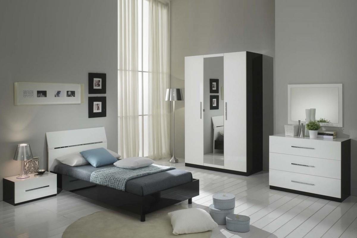Glorino - Chambre jeune complète noir et blanc laqué | MODIVA