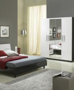 GLORINO - CHEVET COLORIS NOIR & BLANC LAQUE DESIGN