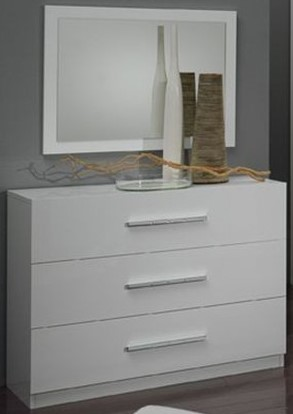 Glorino - Miroir 80 Cm Chambre À Coucher Coloris Blanc Laqué | Modiva